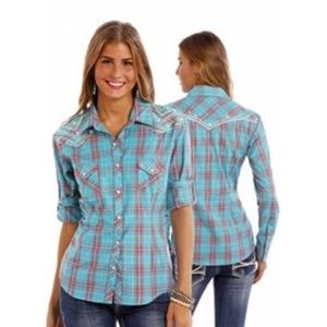 PANHANDLE WESTERN COWGIRL Button Up SHIRT M